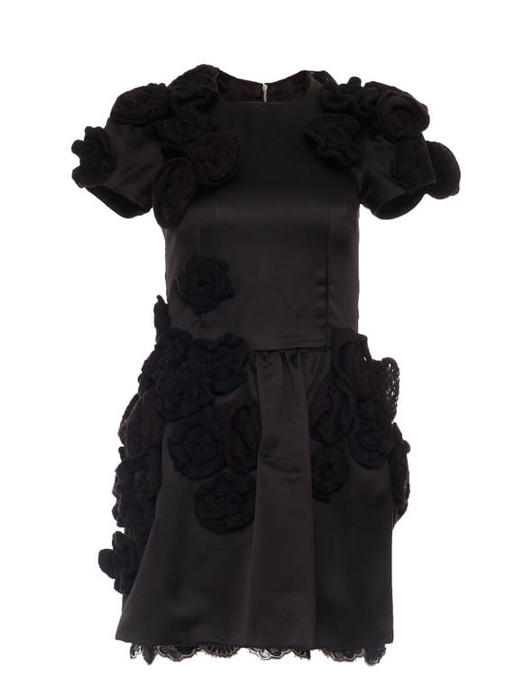 Women Dolce & Gabbana Crochet Flower Dress -  Black Size S IT 38 US 2
