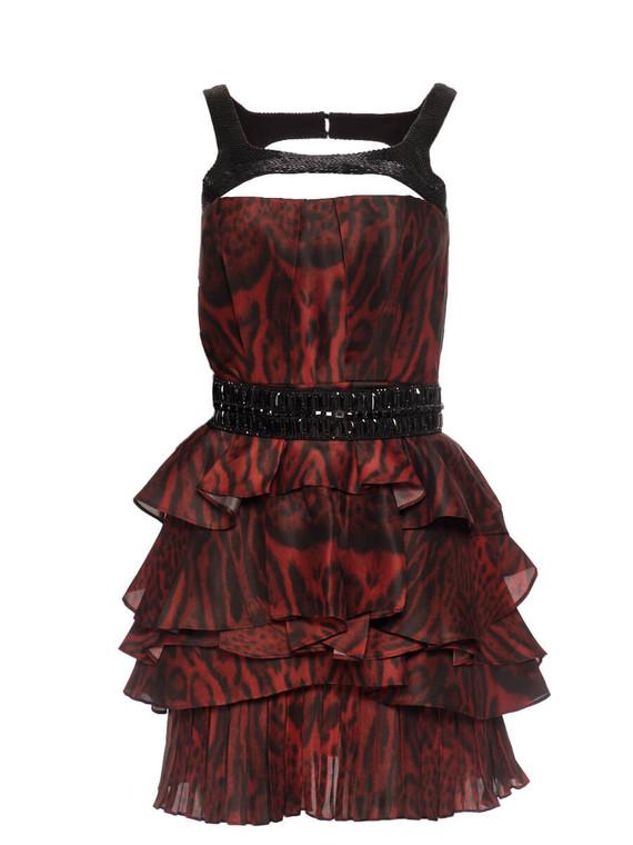 Women Roberto Cavalli Leopard Print Ruffle Dress -  Red/Black Size S IT 38 US 2