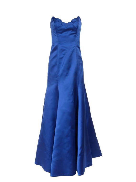 Women Reem Acra Strapless Gown -  Blue Size L US 10