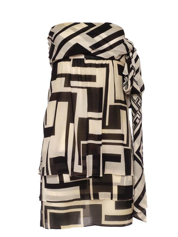Women Emilio Pucci Monochrome Strapless Short Dress -  Black/White Size S IT 40 US 4