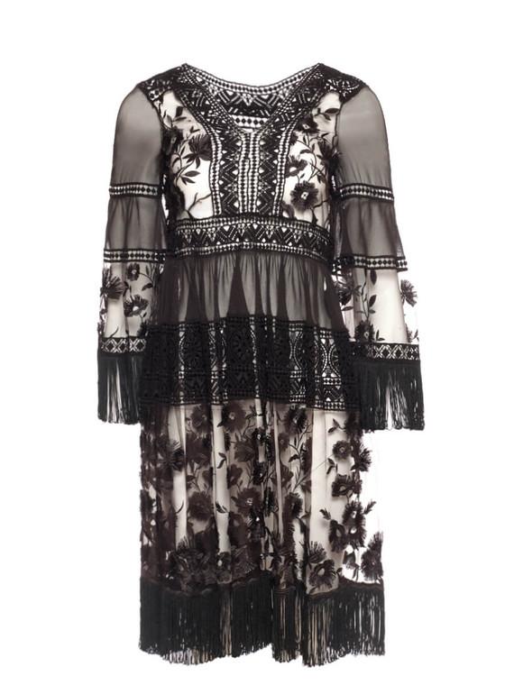 Women Alberta Ferretti Crochet Fringe Dress -  Black Size M IT 42 US 6