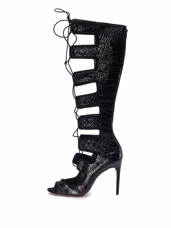 Women Alexandre Birman Caryne Crocodile Lace-Up Gladiator Sandal -  Black Size 38.5 US 8.5