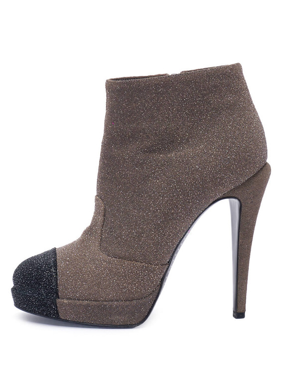 Women Chanel Glitter Cap Toe Two Tone Platform Heel Booties -  Grey Size 38.5 US 8.5