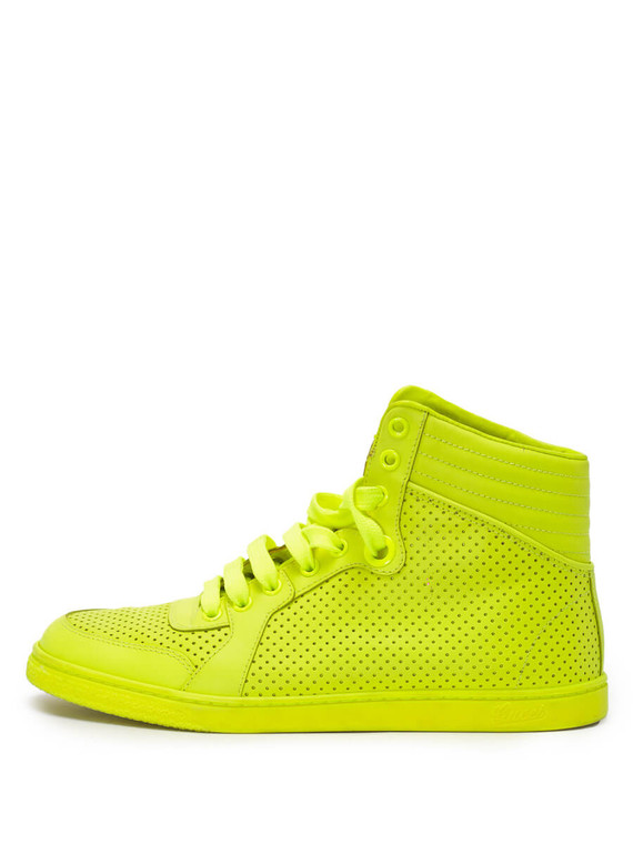 Women Gucci Perforated Leather Coda High Top Sneakers -  Yellow Size 37.5 US 7.5