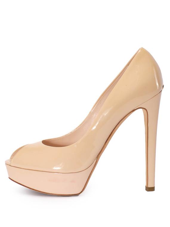Women Dior 'Miss Dior' Peep Toe Platform Pumps -  Nude Size 38.5 US 8.5