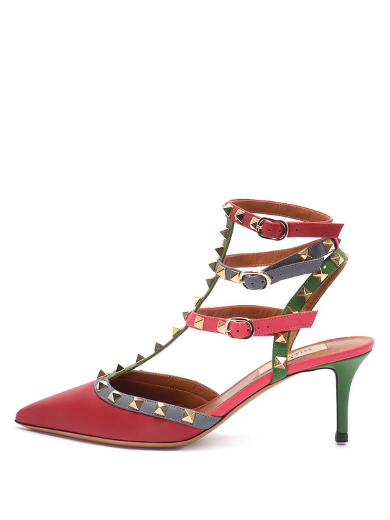 Women Valentino Rockstud Pointed Toe Kitten Heel Pumps -  Multi Size 38 US 8