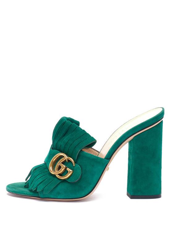 Women Gucci GG Marmont Fringe Mules -  Green Size 38 US 8