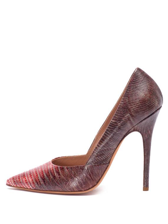 Women Jean-Michel Cazabat Exotic Pointed-Toe Pump Heels -  Red/Black Size 38.5 US 8.5