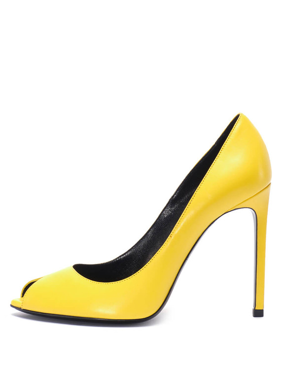 Women Saint Laurent Peep-Toe Pumps -  Yellow Size 38.5 US 8.5