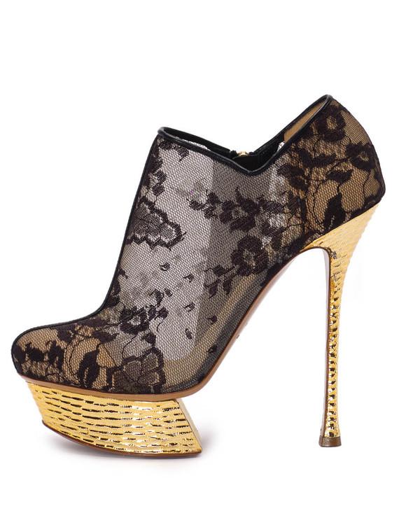 Women Nicholas Kirkwood Platform Lace Heels -  Black Size 39 US 9