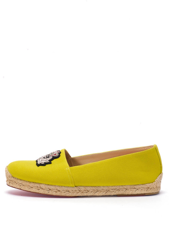 Women Christian Louboutin Nanou Crest Espadrilles -  Yellow Size 39 US 9