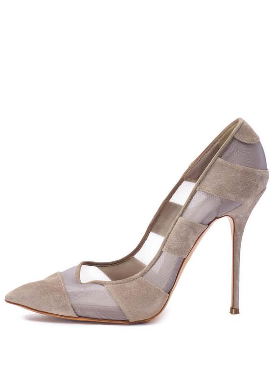 Women Casadei Mesh Pump Heels -  Grey Size 39 US 9