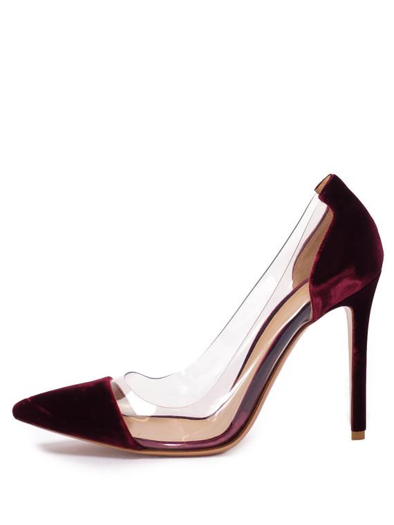 Women Gianvito Rossi Plexi Pump Heels -  Burgundy Size 38 US 8
