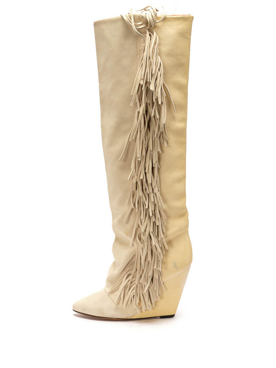 Women Isabel Marant Mony Knee-High Fringe Boots -  White Size 38 US 8