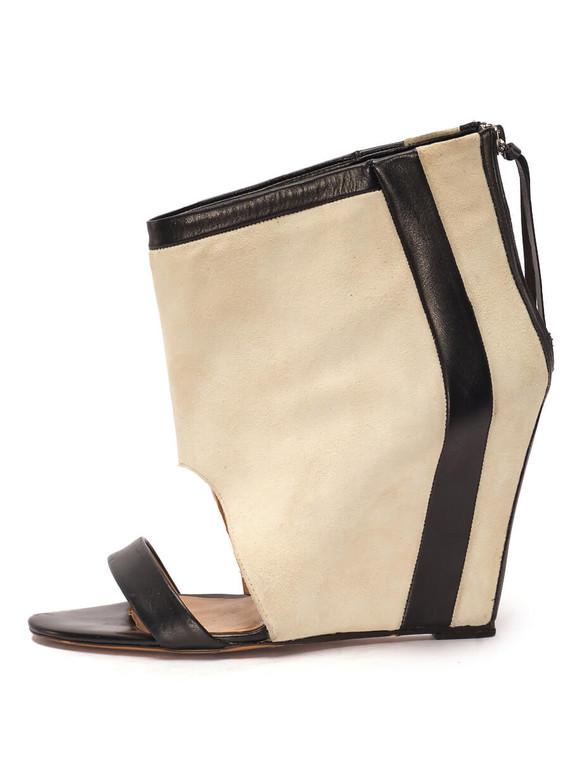 Women Iro Sattely Contrast Wedge Sandal Heels -  White Size 38 US 8