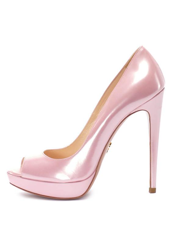 Women Prada Peep-Toe Platform Heels -  Pink Size 38.5 US 8.5