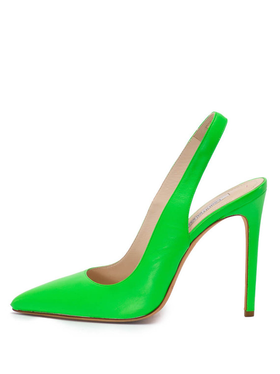 Women Gianmarco Lorenzi Pointed Slingback Heels -  Green Size 38.5 US 8.5