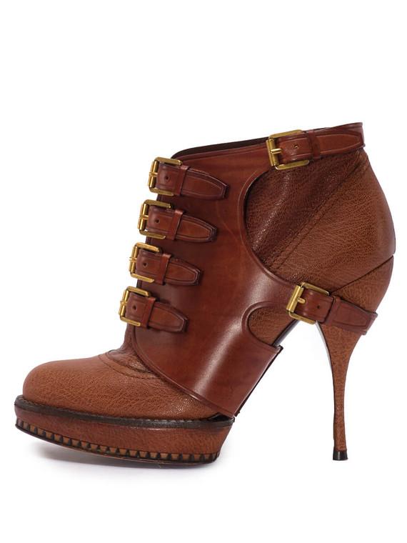 Women Christian Dior Cavaliere Platform Ankle Boot Heels -  Brown Size 38 US 8