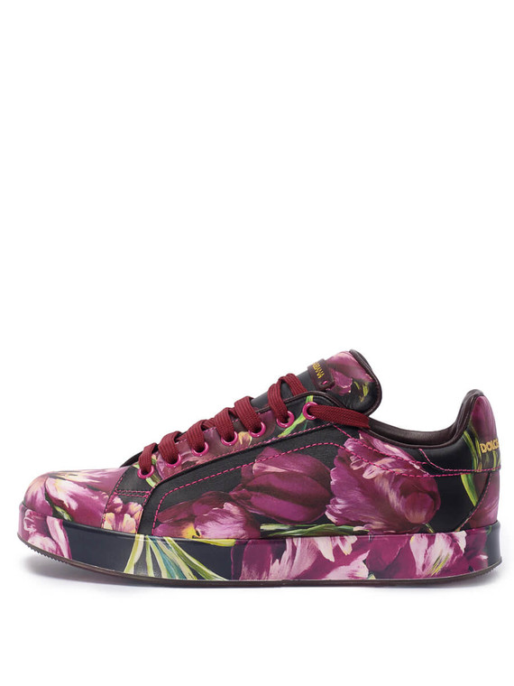 Women Dolce & Gabbana Floral Print Sneakers -  Black Size 38 US 8