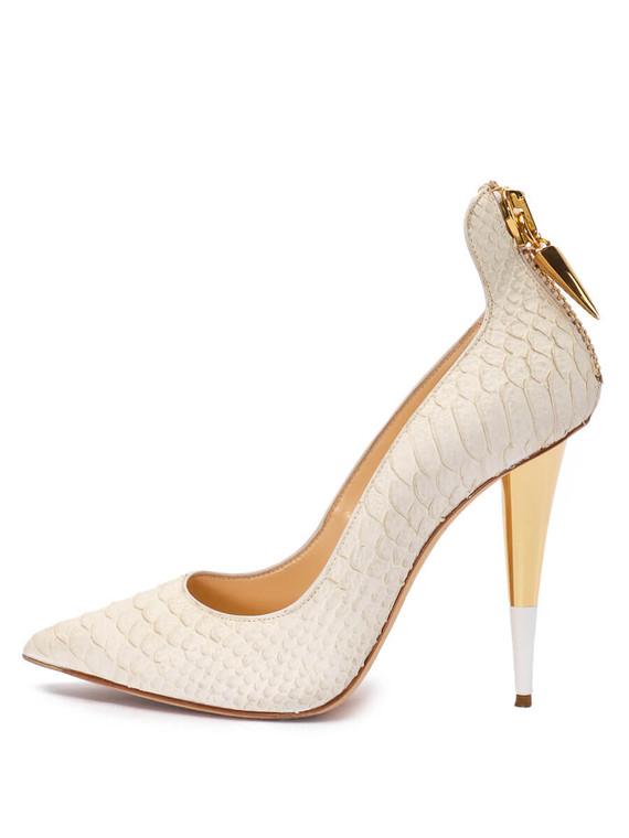 Women Giuseppe Zanotti Croc Embossed Pointed-Toe Pump Heels -  White Size 38.5 US 8.5