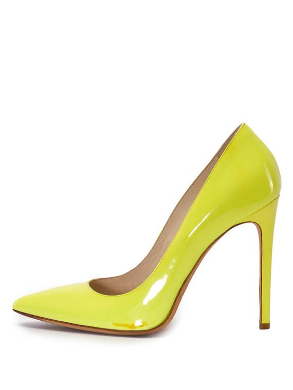 Women Gianmarco Lorenzi Pointed-Toe Pumps -  Yellow Size 38.5 US 8.5