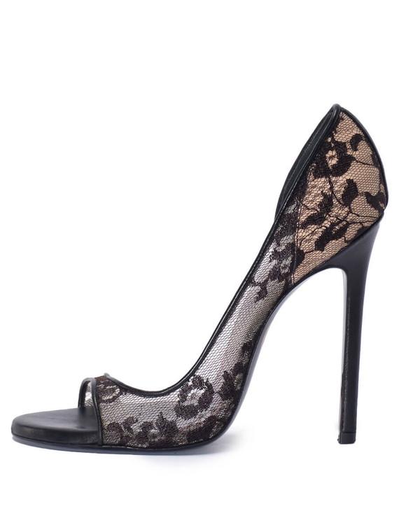Women Maison Ernest Paris Lace Sandal Heels -  Black Size 38.5 EU 8.5