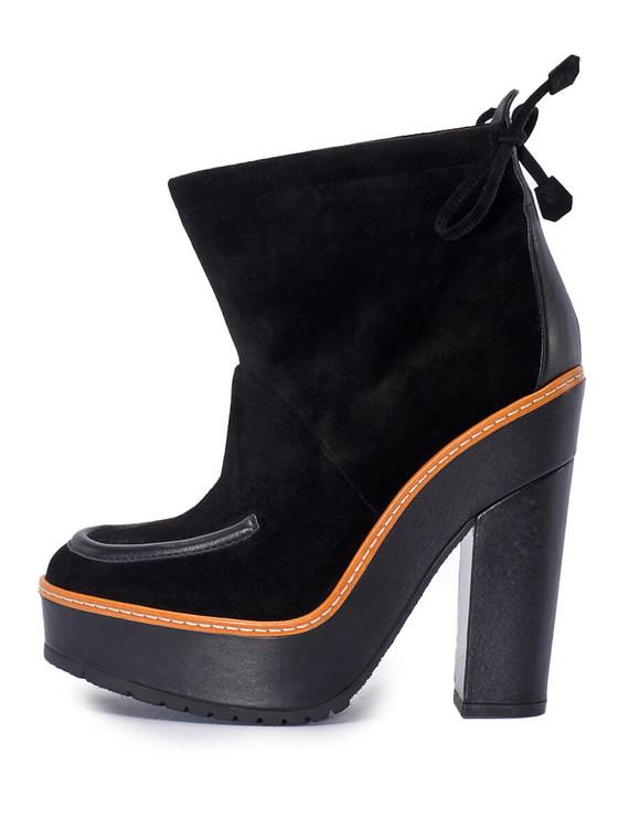 Women Hermès Block Heel Boots -  Black Size 38 US 8
