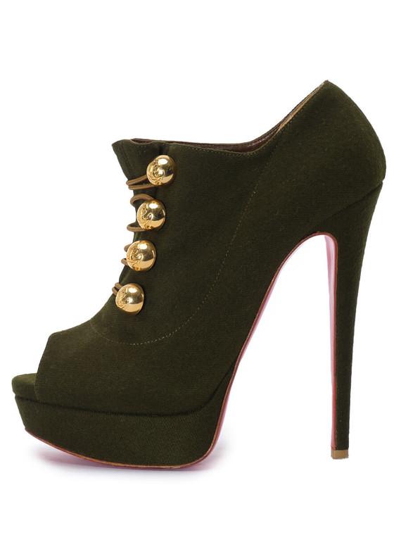 Women Christian Louboutin Ankle Peep-Toe Platform Heels -  Green Size 39 US 9