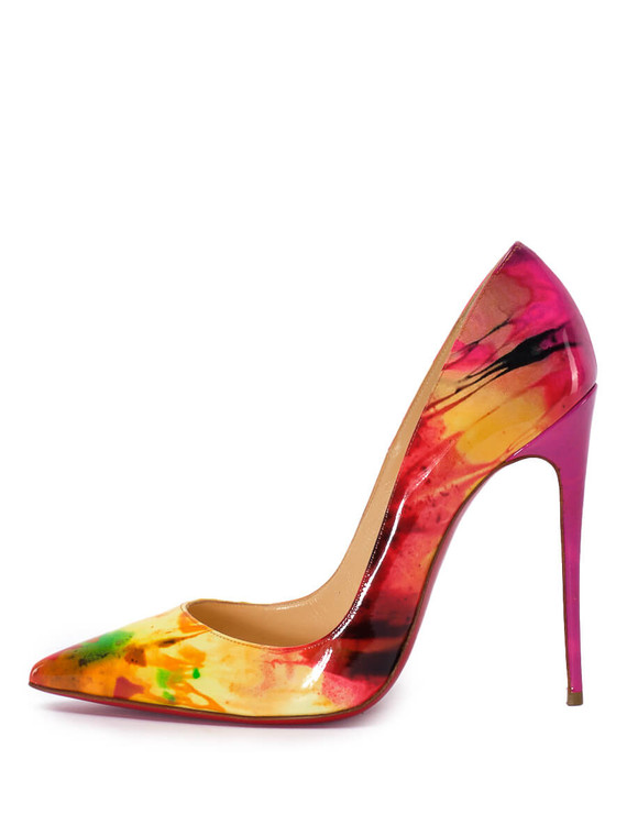 Women Christian Louboutin Patterned So Kate Pump Heels -  Red/Green/Yellow Size 38.5 US 8.5
