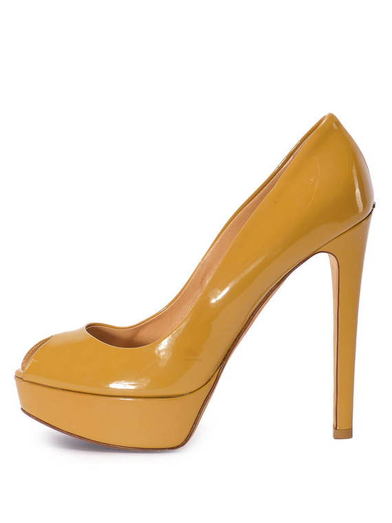 Women Christian Dior Lady Peep-Toe Platform Pump Heels -  Yellow Size 38.5 US 8.5