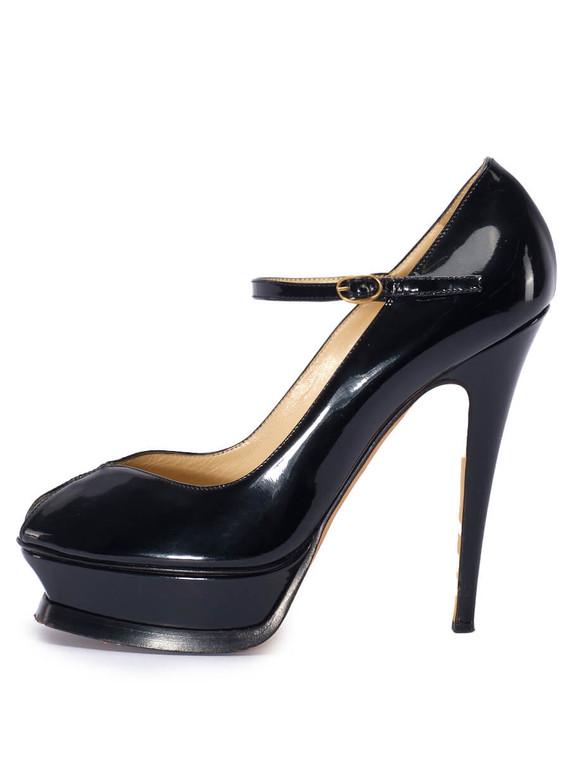 Women Yves Saint Laurent Peep-Toe Platform Heel -  Black Size 38.5 US 8.5