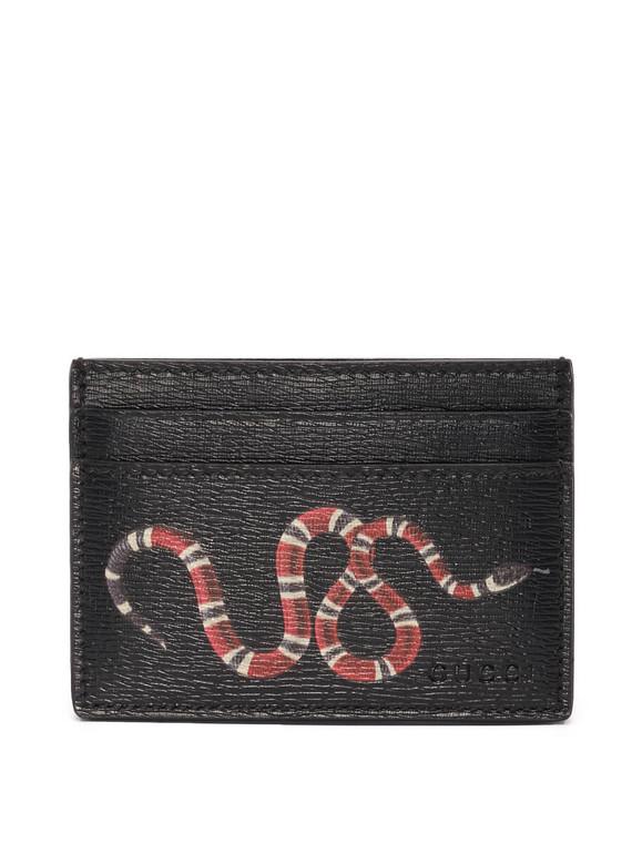 Women Gucci GG Supreme Snake Card Holder -  Black