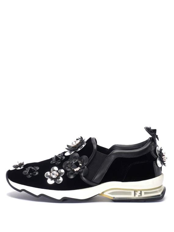 Women Fendi Bejewelled Slip-On Sneakers -  Black Size 38 US 8