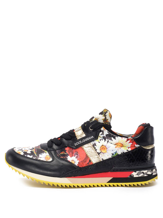 Women Dolce & Gabbana Printed Sneakers -  Black Size 38.5 US 8.5