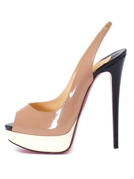 Women Christian Louboutin Peep-Toe Slingback Heels -  Beige Size 39 US 9