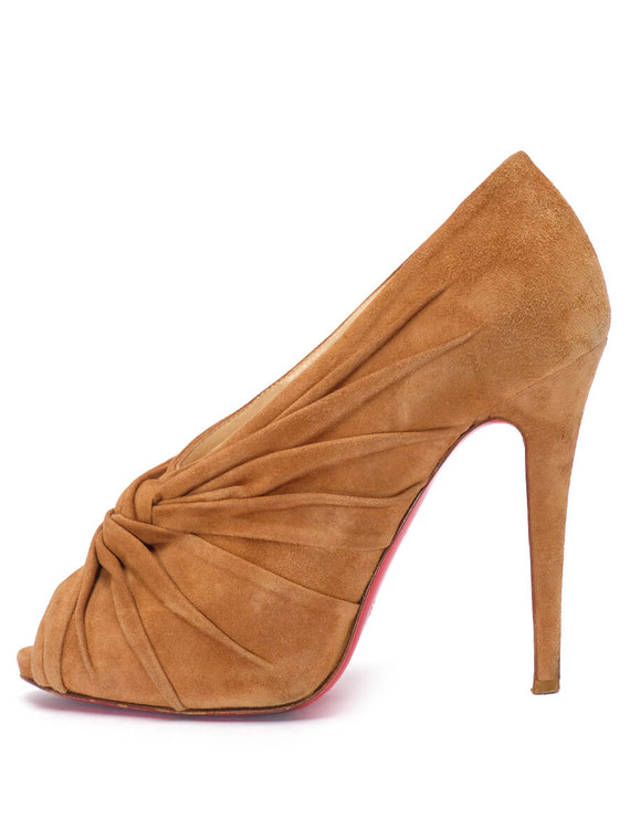 Women Christian Louboutin Knot Peep-Toe Heels -  Brown Size 38 US 8