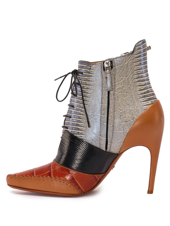 Women Christian Dior Laced Ankle Booties -  Brown Size 38.5 US 8.5