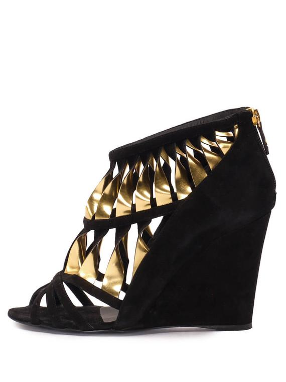 Women Chanel Cutout Sandal Wedges -  Black Size 38 US 8