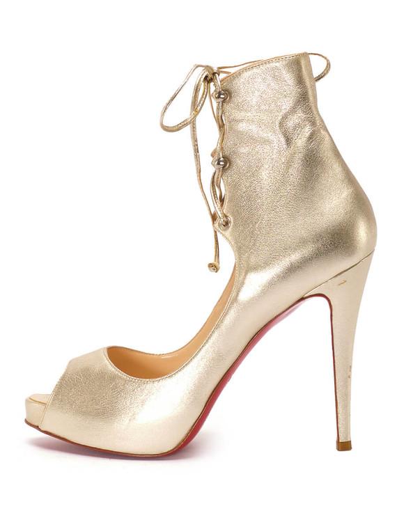Women Christian Louboutin Lace Up Heels -  Gold Size 38.5 US 8.5
