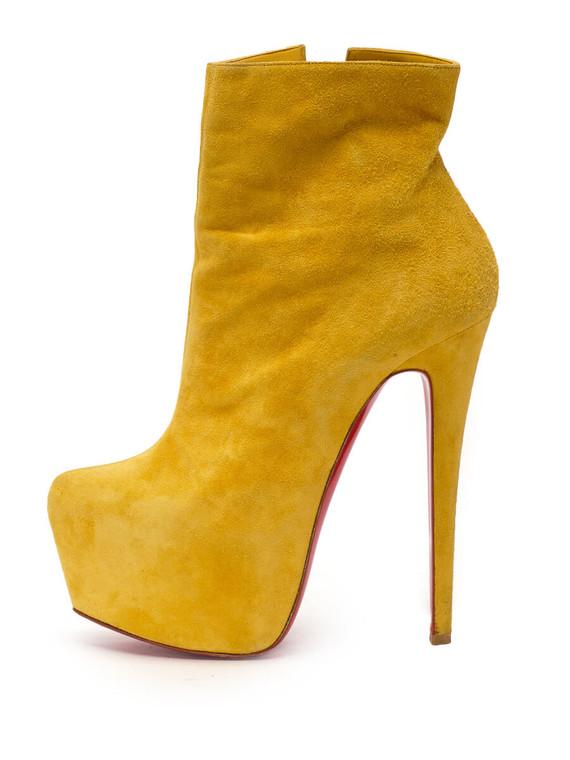 Women Christian Louboutin Platform Booties -  Yellow Size 38.5 US 8.5