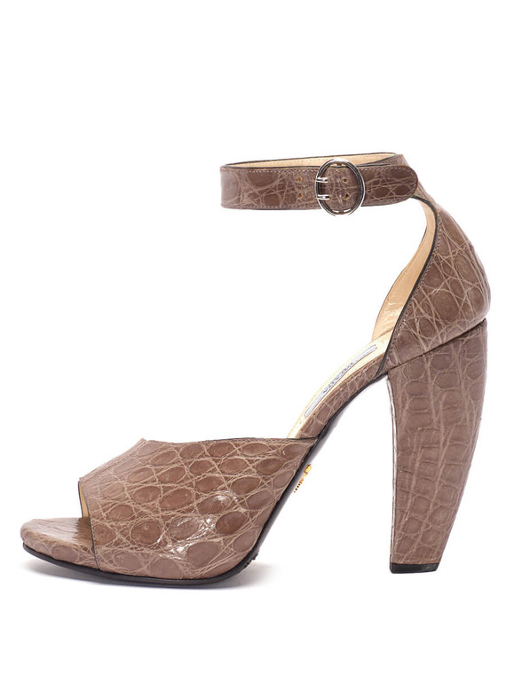 Women Prada Embossed Crocodile Sandal Heels -  Grey Size 38.5 US 8.5
