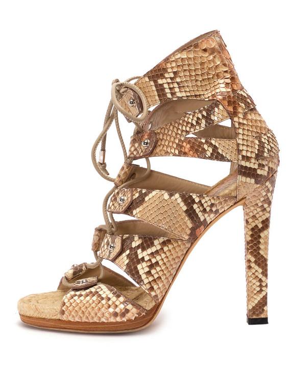 Women Gucci Lace-up Sandal Pumps -  Ecru Size 38.5 US 8.5