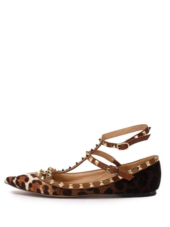 Women Valentino Rockstud Caged Cheetah Ballerina Flats -  Brown Size 38.5 US 8.5
