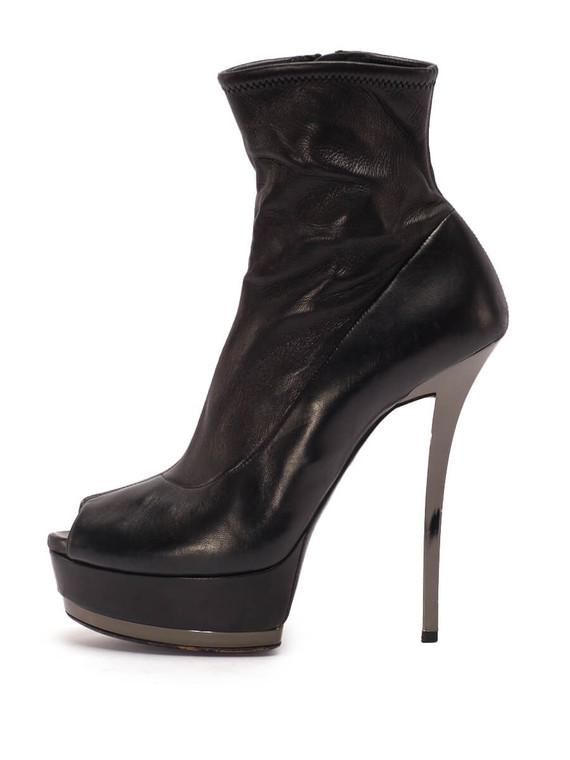 Women Gucci Peep-Toe Platform Booties -  Black Size 37.5 US 7.5