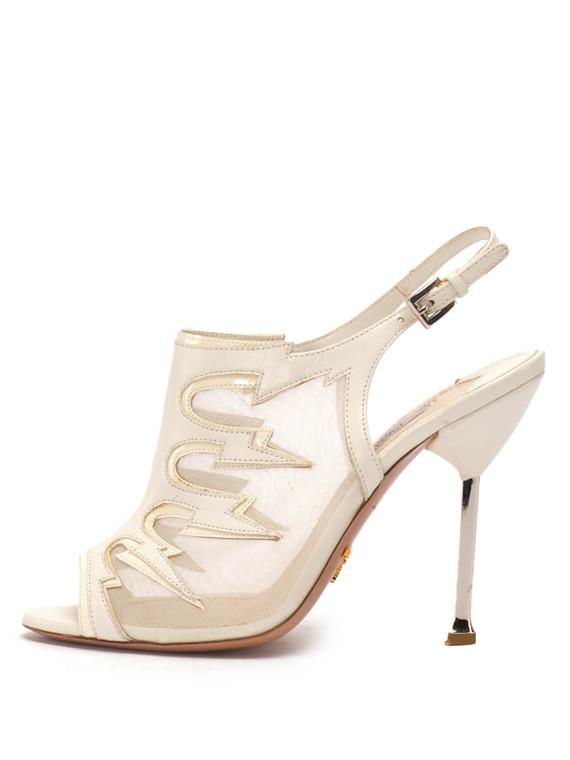 Women Prada Peep-Toe Slingback -  White Size 38.5 US 8.5