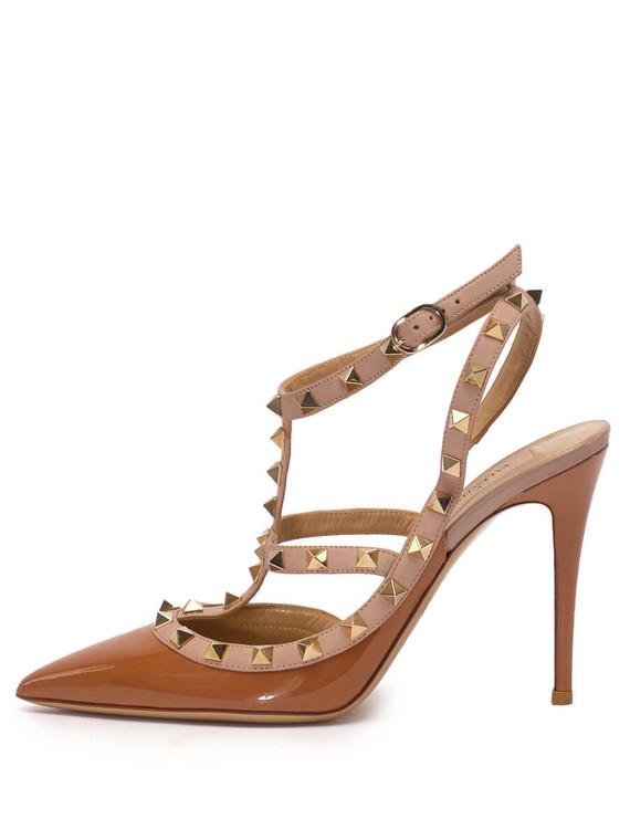 Women Valentino Rock Stud Heels -  Brown Size 38 US 8