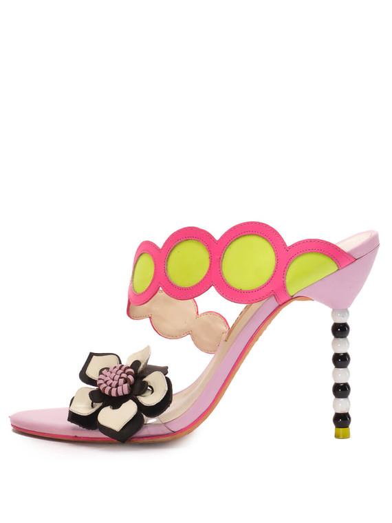 Women Sophia Webster Sandal Mule Heels -  Purple/Black/White Size 39 US 9