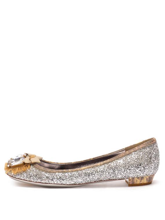 Women Miu Miu Glitter Embellished Ballet Flats -  Silver Size 38 US 8