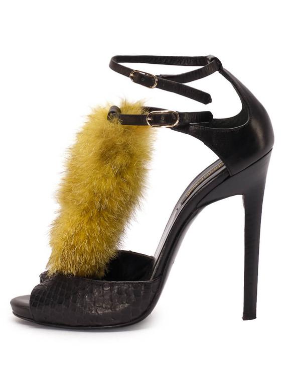 Women Roberto Cavalli Embellished Sandal Heels -  Black/Yellow Size 38 US 8