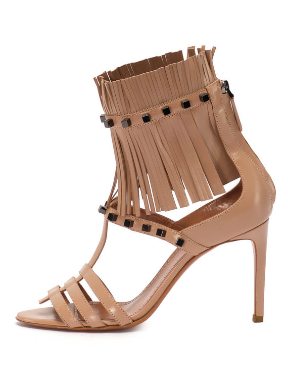 Women Alaïa Sandal Fringe Heels -  Nude Size 38 US 8